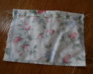 Cut fabric to size of sachet desired then turn over edges and sew with the right sides together.
