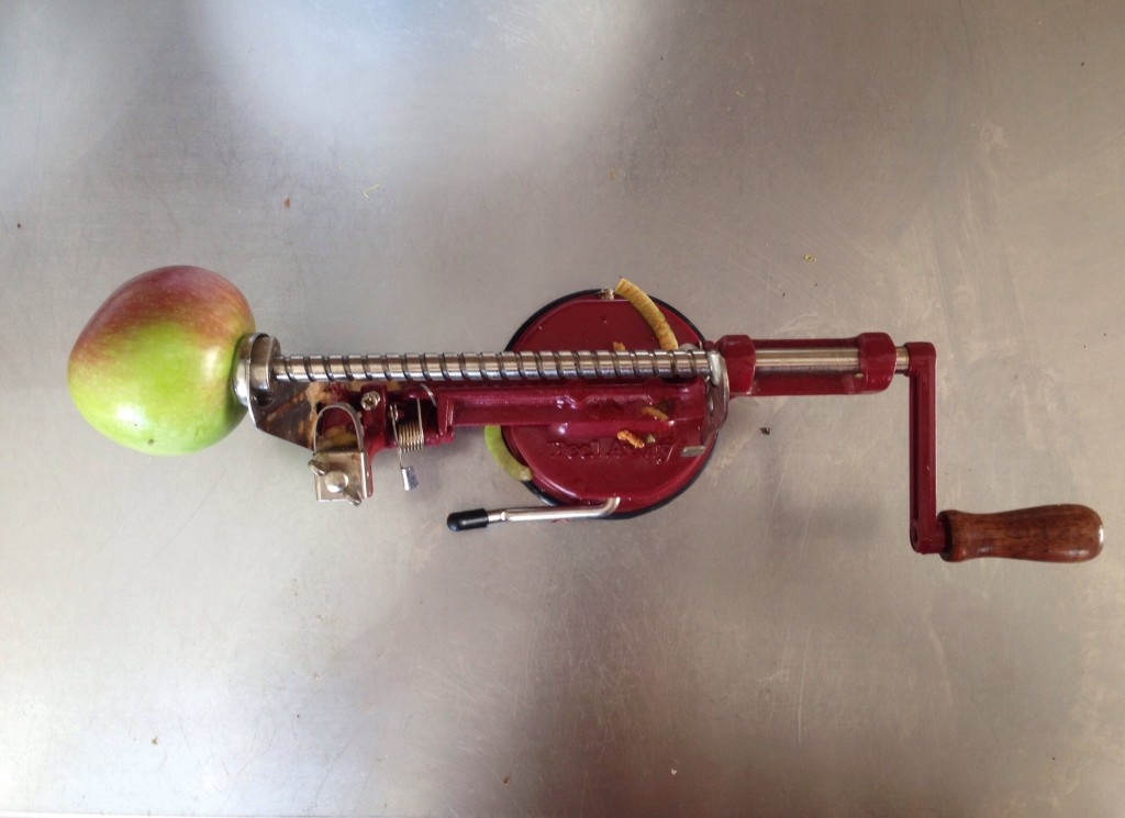 I like to use this apple peeler and slicer.  It really cuts down on time and is great fun to use.